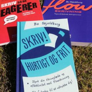 Tre skrivebøger af Bo Skjoldborg. Flowskrivning, Skriv så de reagerer. Skriv! Hurtigt og frit